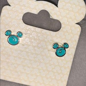 Teal Mickey Mouse earrings